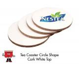 White Round Cork Coaster