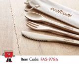 cutlery set bamboo in canvas