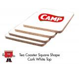 White Square Cork Coaster
