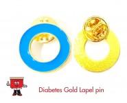 diabetes metal gold lapel pin