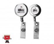 silver metal badge reel