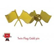 twin flag gold lapel pin