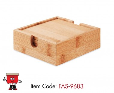 bamboo coasters with handle 4 set