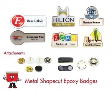 metal shape cut epoxy name badges